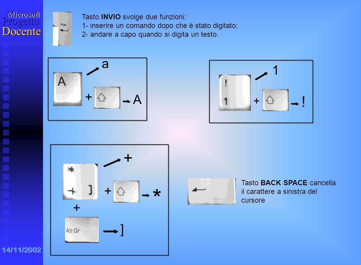 * + ! a 1 + A + + ] + Tasto INVIO svolge due funzioni: